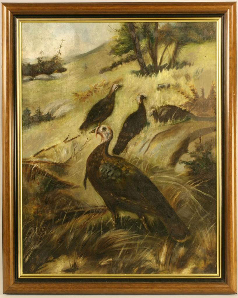 Lot 380: Folk Art Oil on Board of Turkeys