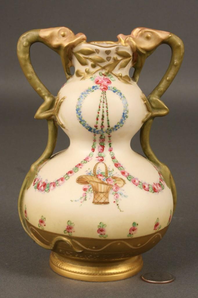 Lot 382: Amphora Vase, Basket Design and dragon handles