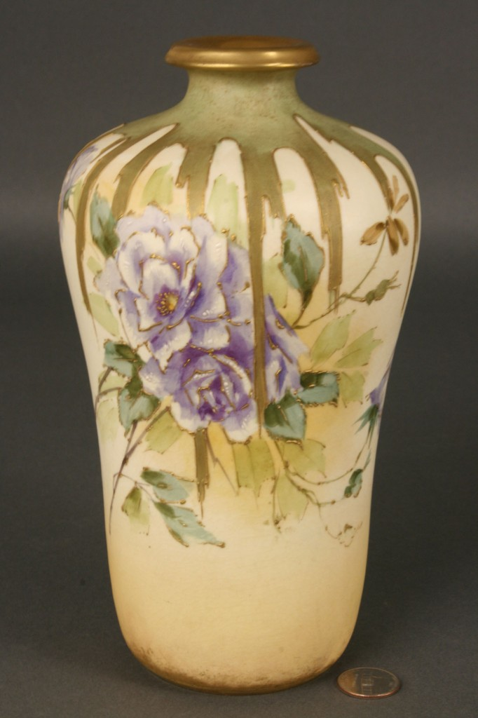 Lot 388: Amphora Vase with Blue Flowers