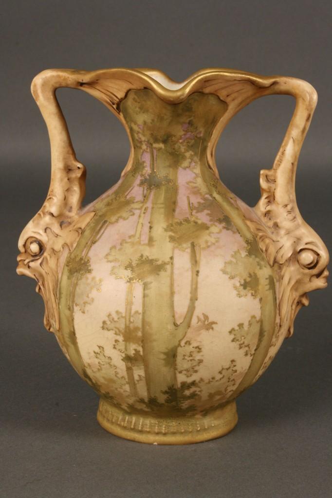 Lot 390: Amphora Trumpet Neck Vase with Tree Design, artist