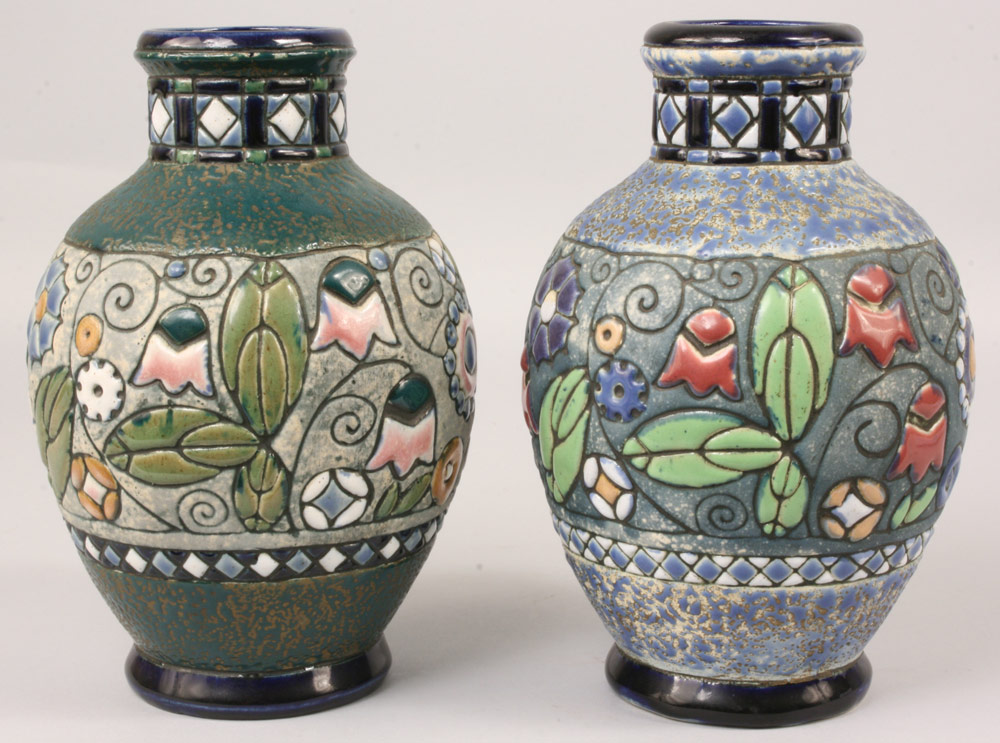 Lot 392: Amphora Vases with Owls, pair