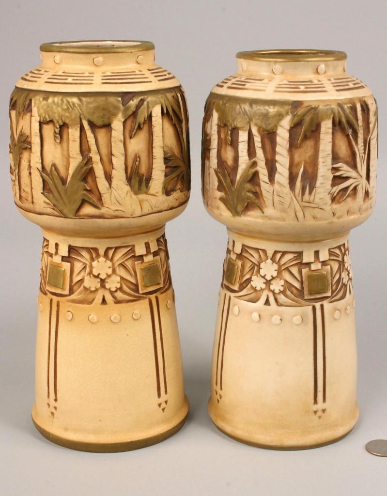Lot 393: Pair Amphora Leopard Vases, artist signed