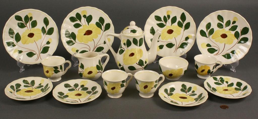 """Lot 395: Blue Ridge child's tea set, """"Yellow Nocturne"""", 15"""