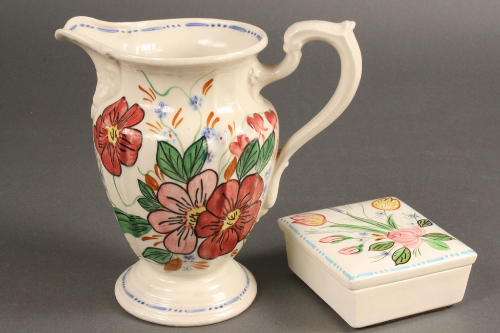 """Lot 397: Blue Ridge Porcelain """"Elegance"""" pattern water pitc"""