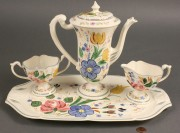 "399: Blue Ridge chocolate set, ""Romance"" pattern, 4 ite"