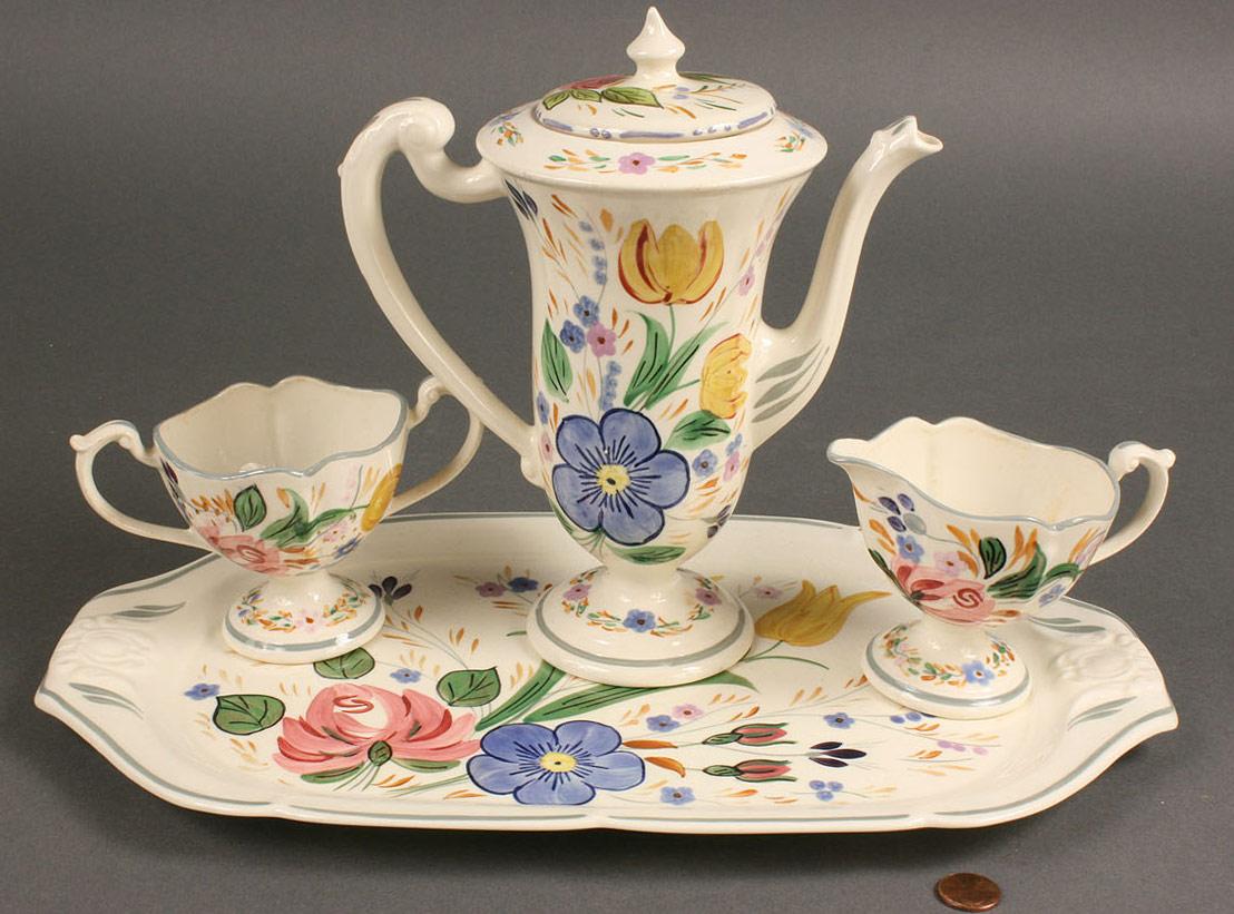 """Lot 399: Blue Ridge chocolate set, """"Romance"""" pattern, 4 ite"""