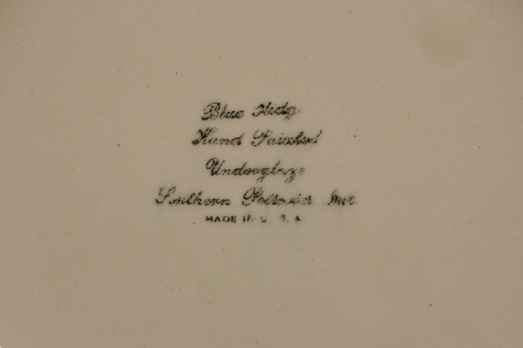 Lot 403: Blue Ridge Porcelain Cabin Scene plate, sgd Hart