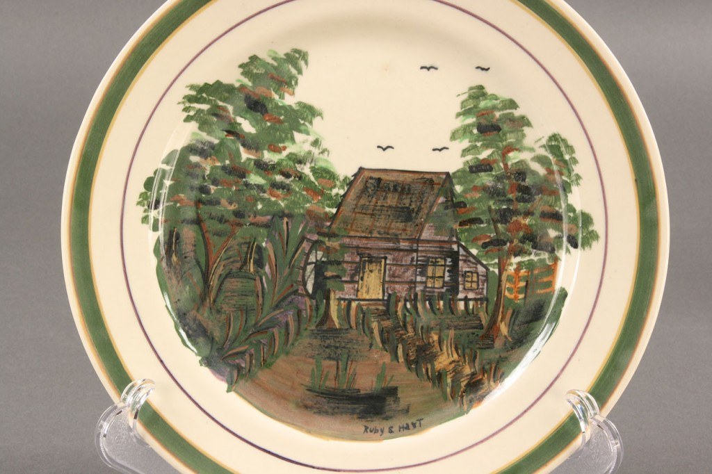Lot 404: Blue Ridge Porcelain Cabin Scene plate, sgd Hart