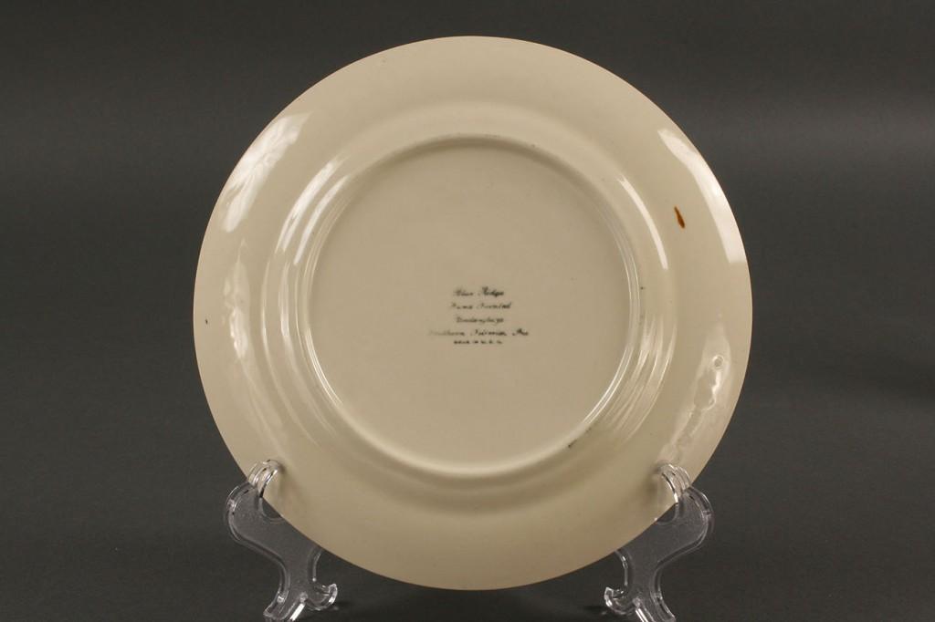 Lot 404: Blue Ridge Porcelain Cabin Scene plate, sgd Hart