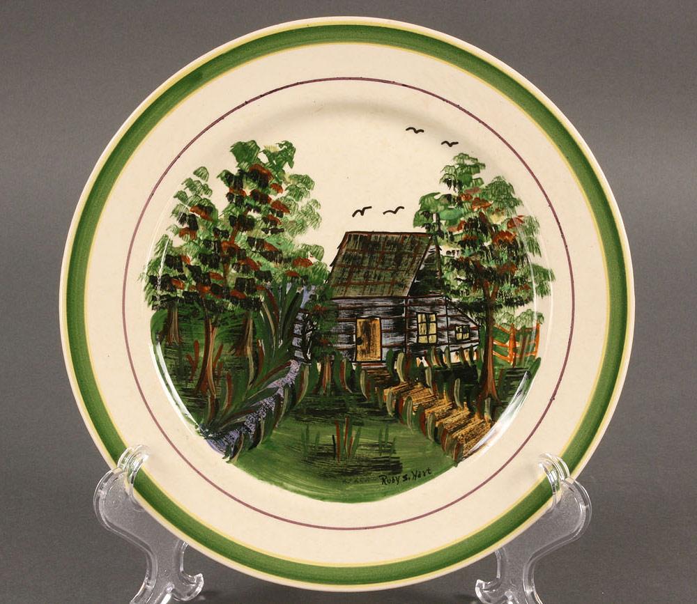Lot 405: Blue Ridge Porcelain Cabin Scene plate, sgd Hart