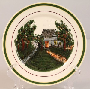 Lot 406: Blue Ridge Porcelain Cabin Scene plate, sgd Broyle