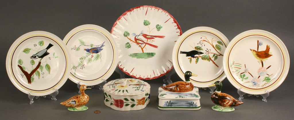 Lot 409: Assd. Blue Ridge bird pieces, lot of 9