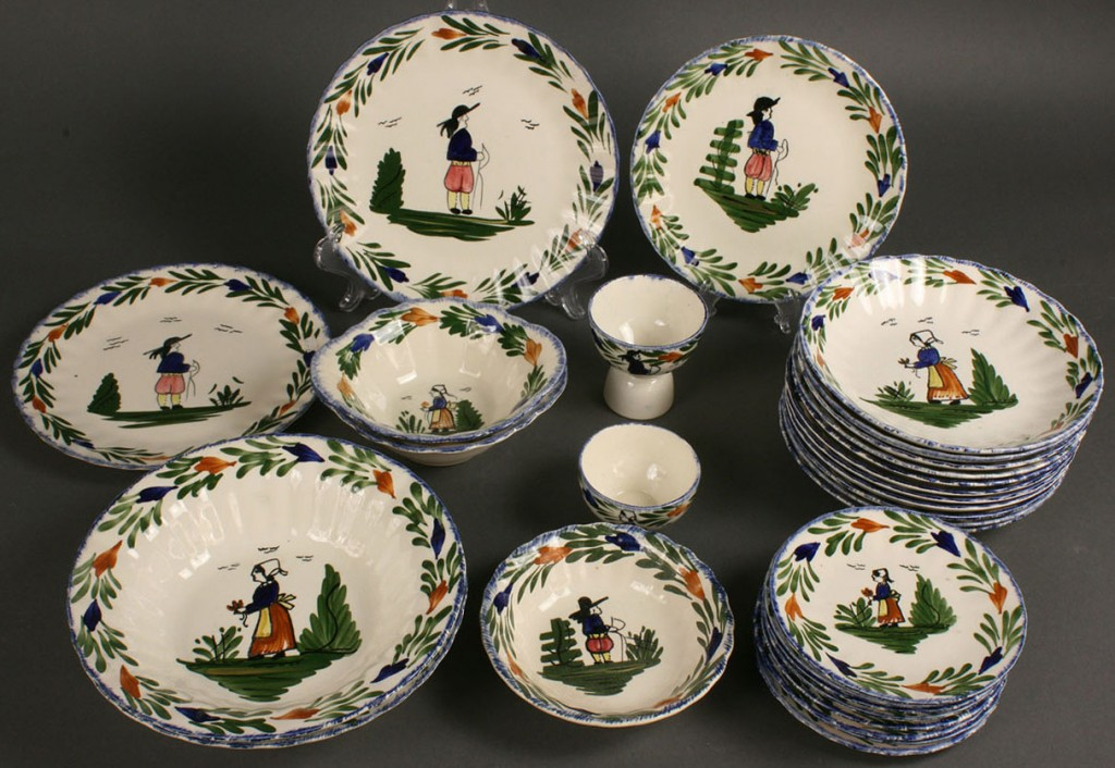"Lot 414: Blue Ridge Porcelain, ""A la Mode"" pattern, 32 piec"