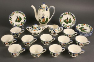 "Lot 416: Blue Ridge Porcelain, ""A'la mode"" pattern, 49 piec"