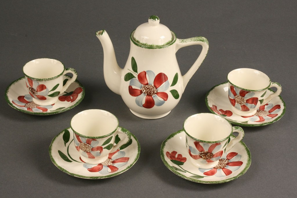 "Lot 420: Blue Ridge Child's tea set, ""Whirligig,"" 15 pcs"