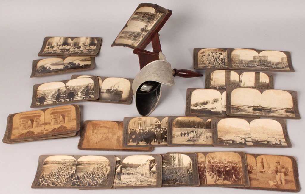 Lot 423: Stereoscope with stereo cards
