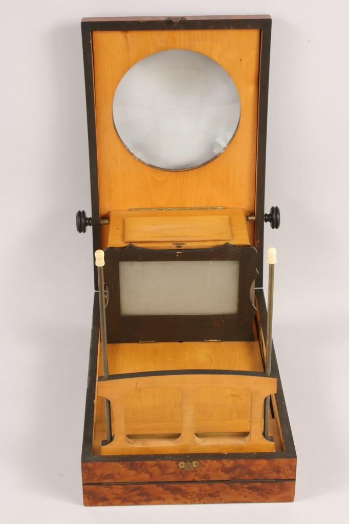 Lot 424: Birds Eye maple stereoscopic viewer, Shreve Crump