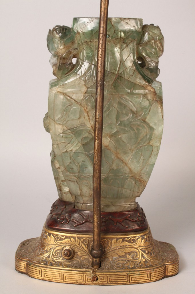 Lot 432: Asian Carved Jade or Rock Crystal Vase, fitted as