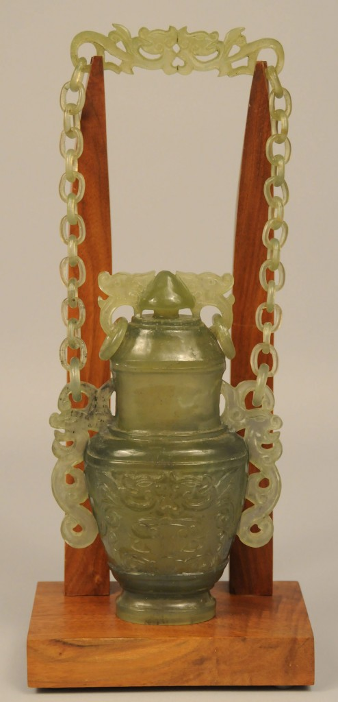 Lot 433: Asian Green Jade Hanging Chain Vase