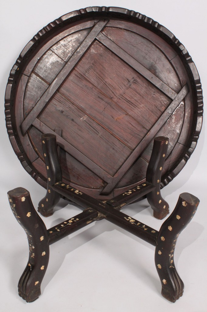 Lot 434: Oriental Rosewood Round Low Table