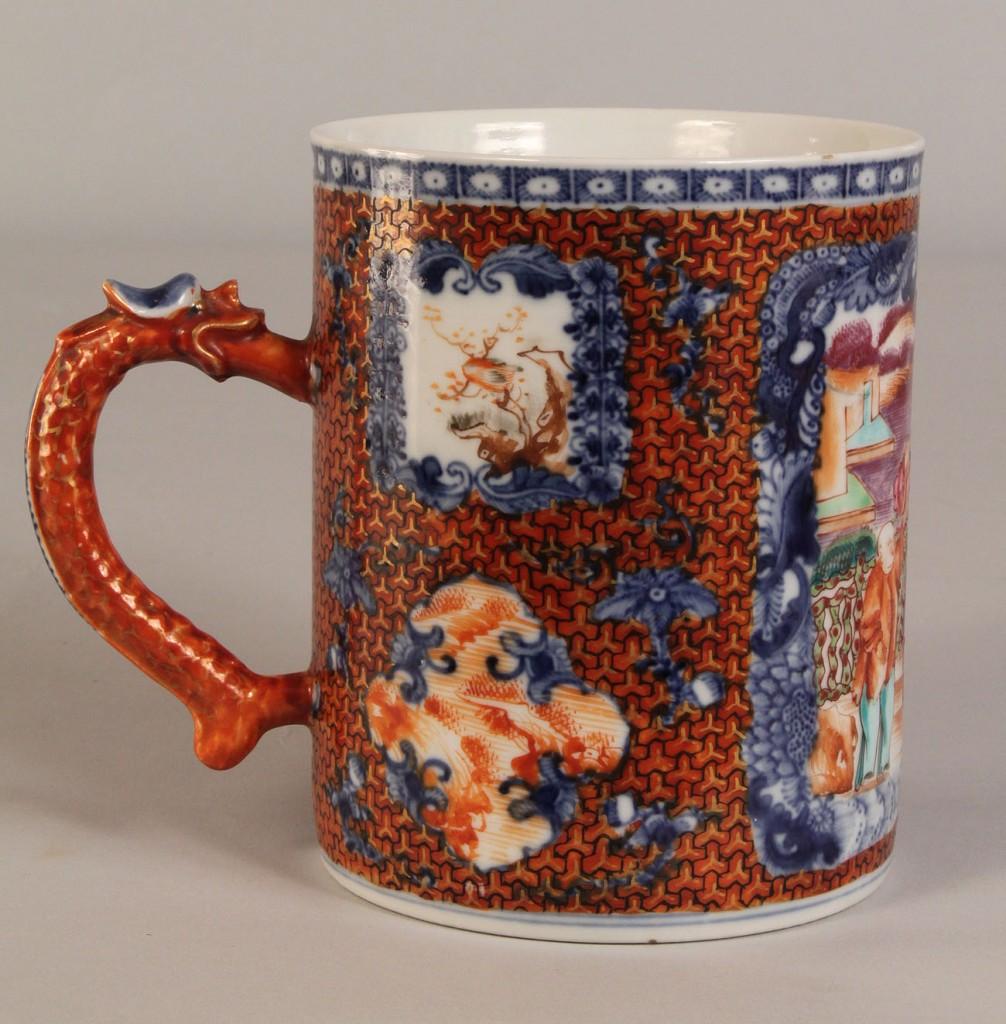 Lot 446: Chinese Export Mug or Tankard, Clobbered style