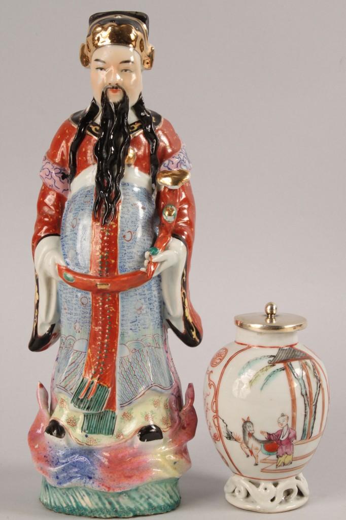 Lot 449: Chinese Ceramic Vase and Emperor Figure