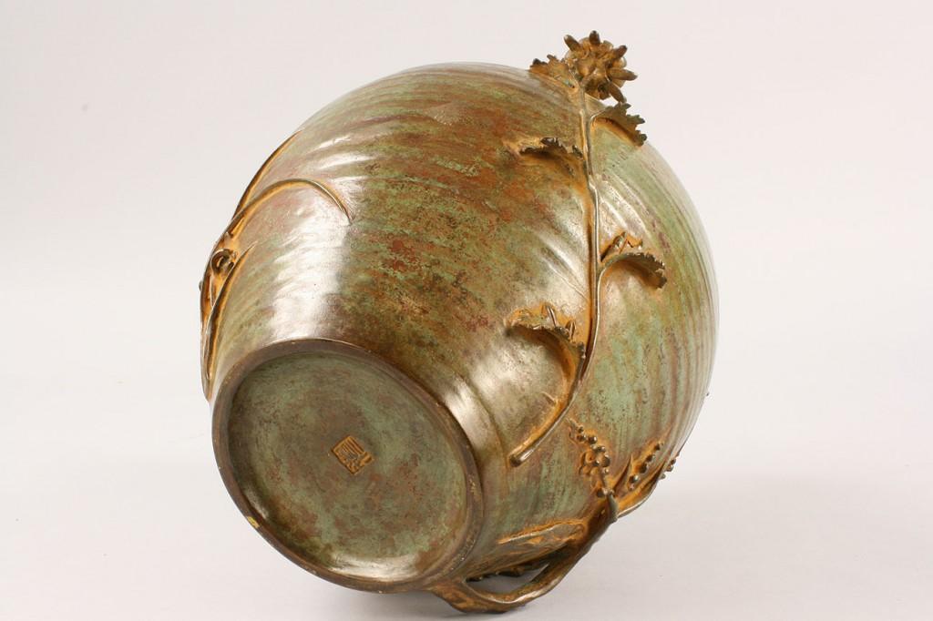 Lot 450: Contemporary Japanese Bronze Vase, artist signed