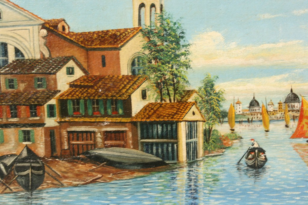Lot 453: 2 European City Views, Oil on Board