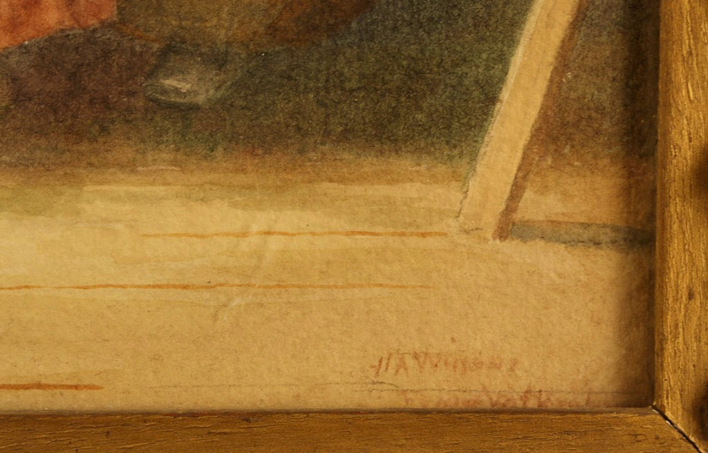 Lot 454: Two European watercolors, mothers and children