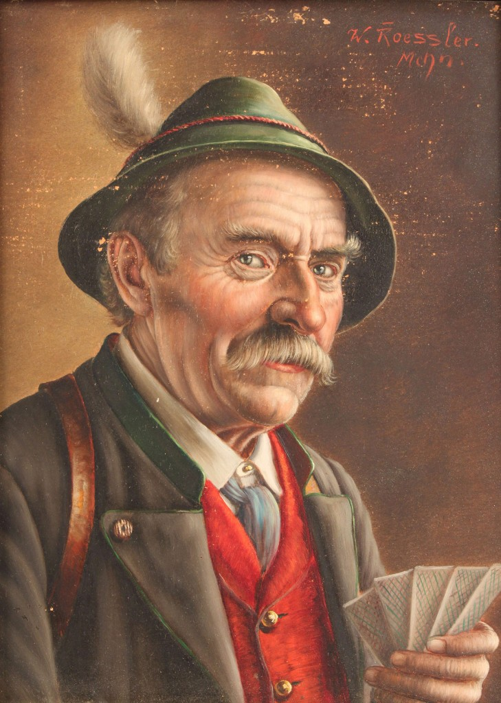 Lot 455: Walter Roessler Oil on Board, gentleman with card