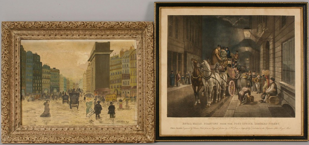Lot 456: Charles Hunt aquatint & Mildred Bly oil on canvas