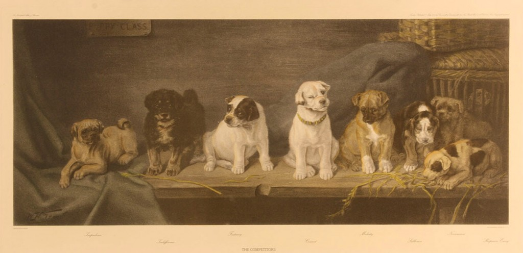 """Lot 458: After W.H. Trood, """"The Competitors"""" dog engraving"""