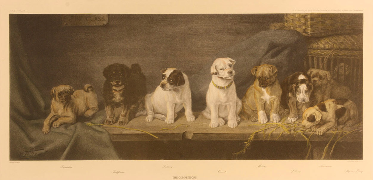 "Lot 458: After W.H. Trood, ""The Competitors"" dog engraving"