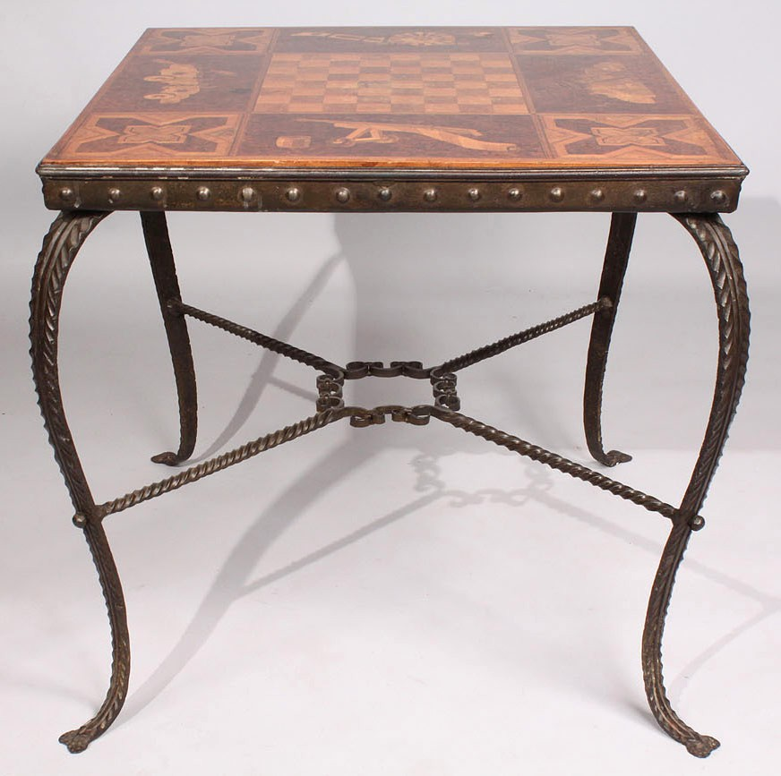 Lot 45: Inlaid Marquetry Game Table with Iron Base