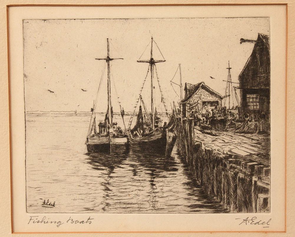 Lot 463: Albert Edel and Cecil Forbes, lot of 4 etchings