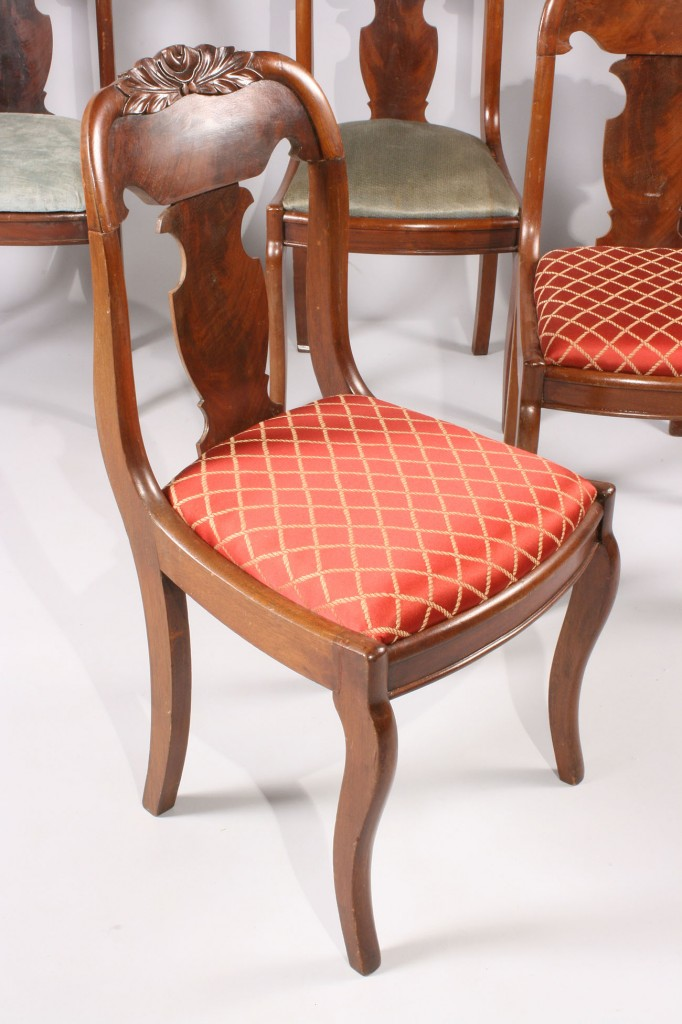 Lot 471: Six Victorian Dining Chairs with carved crests
