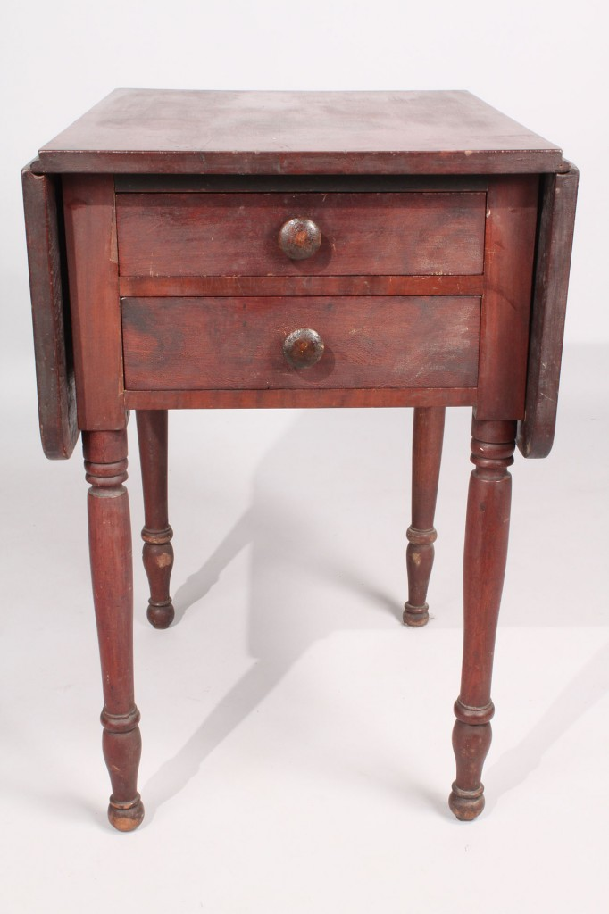 Lot 477: Cherry 2 drawer Drop Leaf Stand