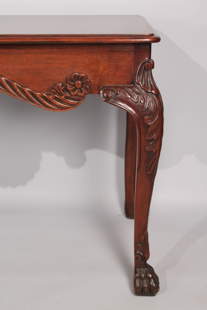 Lot 480: Baker Carved Mahogany Console Table