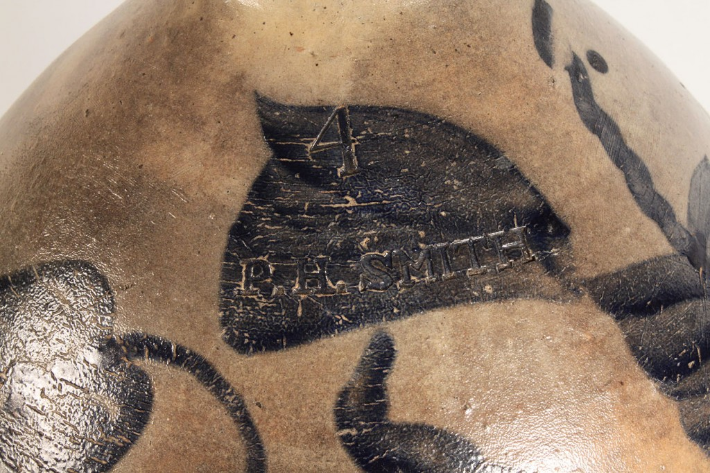 Lot 482: Large P.H. Smith (Ohio) Cobalt Decorated Stoneware
