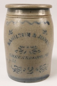 Lot 484: Pennsylvania Stoneware Jar, Hamilton & Jones