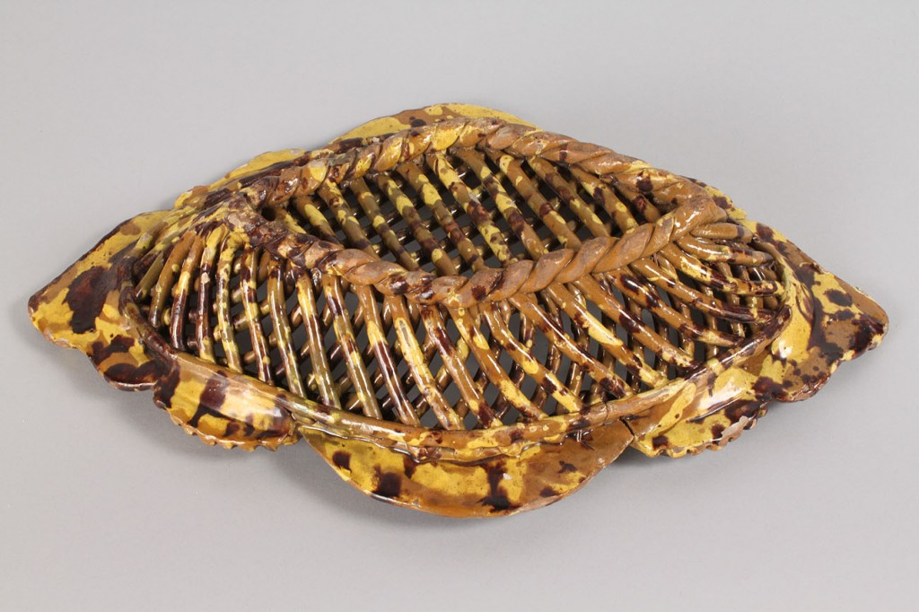 Lot 485: Continental Redware Oval Reticulated Bowl