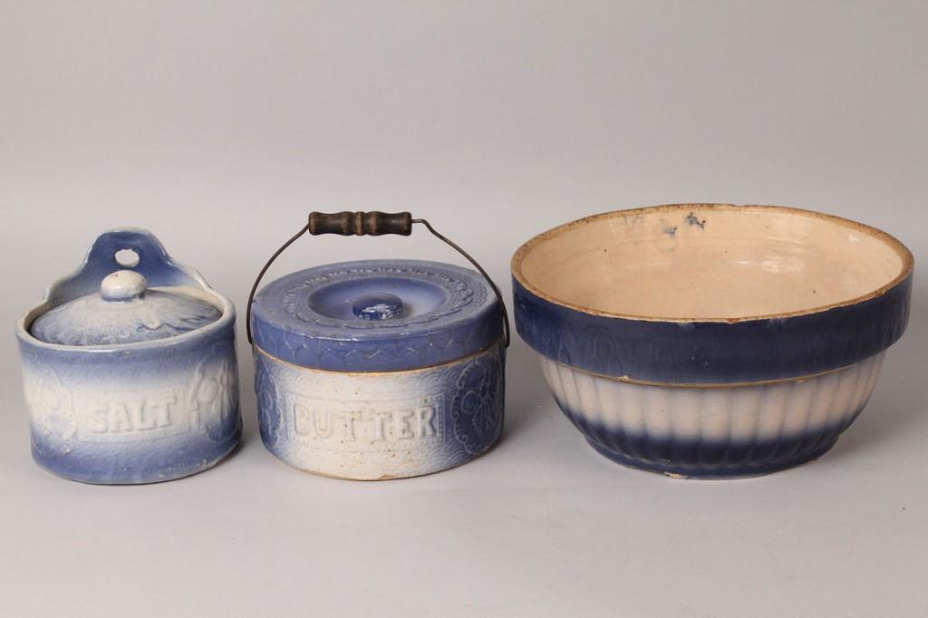Lot 487: 9 pcs Blue Salt Glaze Pottery