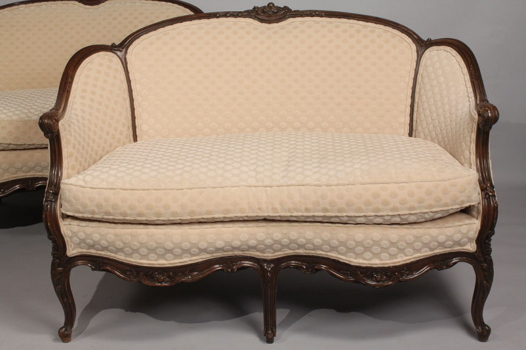 Lot 48: Pair of Louis XV Upholstered Settees, 19th century