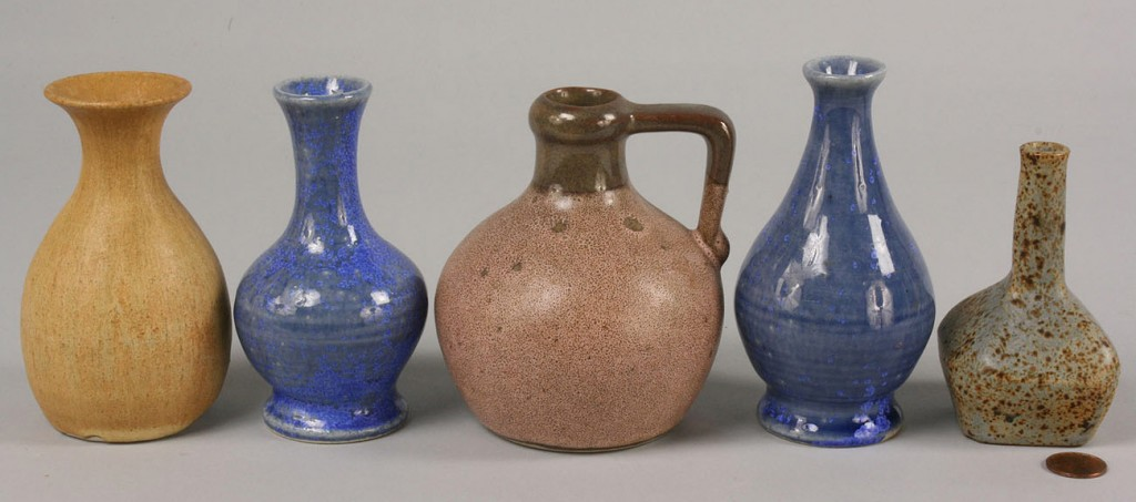 Lot 492: Pigeon Forge Pottery, 4 signed vases and one jug