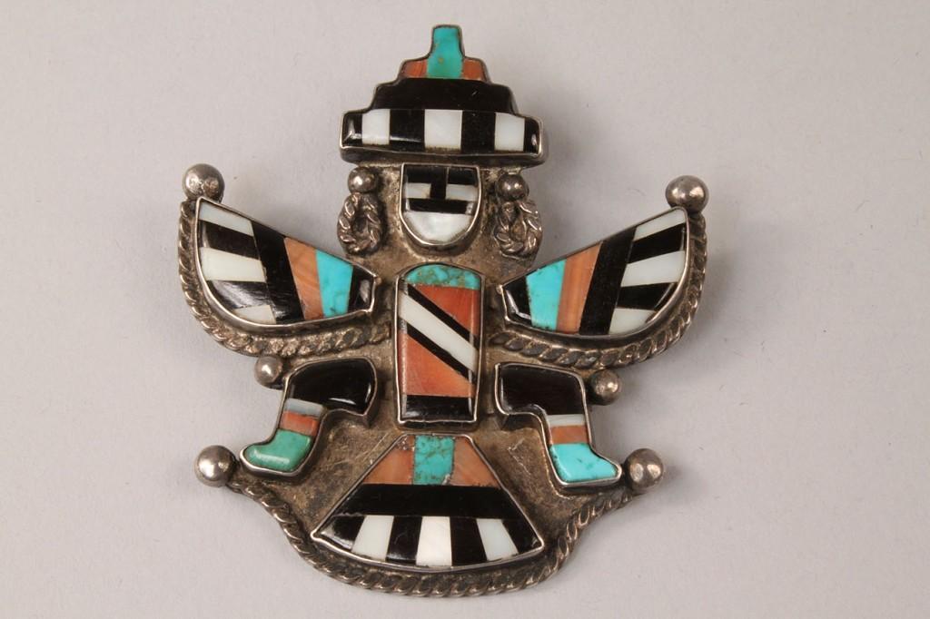 Lot 498: Zuni Eagle Dancer Sterling Pin