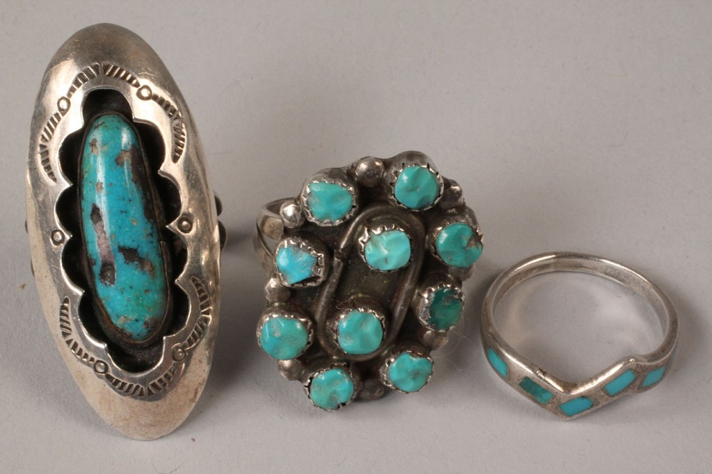 Lot 499: Navajo silver and turquoise buckle and rings, 4 pc