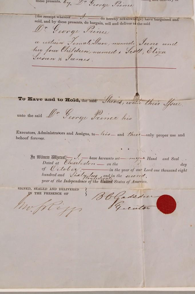 Lot 4: 1862 Confederate South Carolina Slave Document