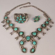 500: Navajo silver and Morenci turquoise jewelry, 3 pcs