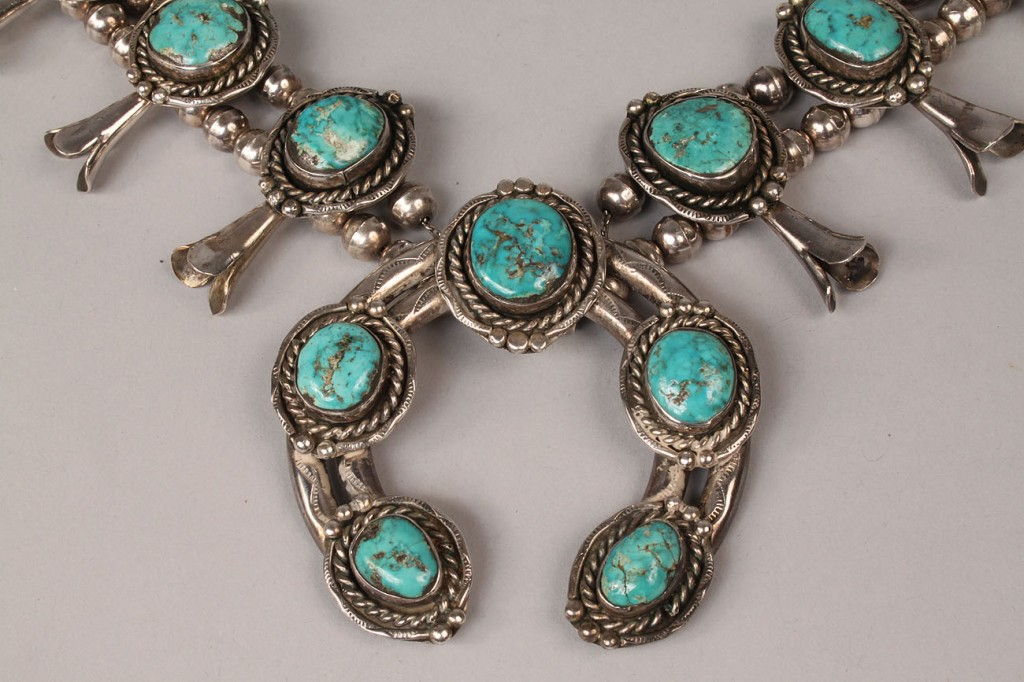 Lot 500: Navajo silver and Morenci turquoise jewelry, 3 pcs