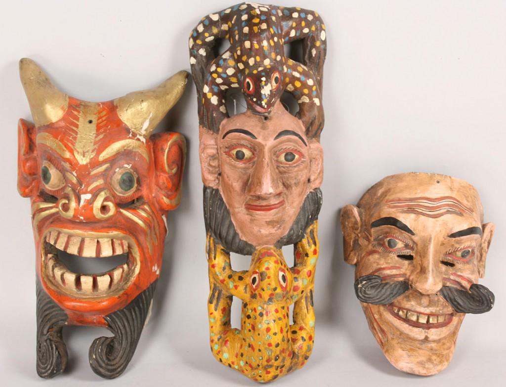 Lot 502: 3 Mexican Folk Art Diablo Masks, various figures